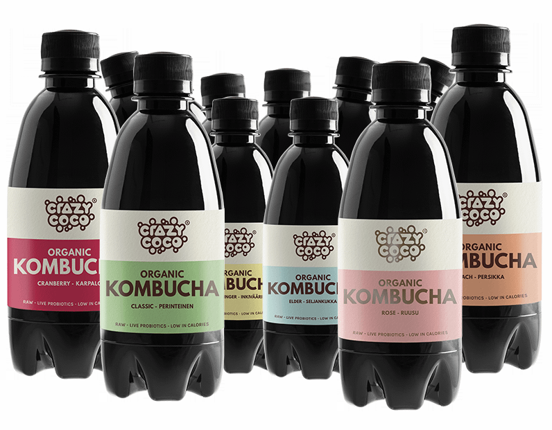 six different kombucha flavors