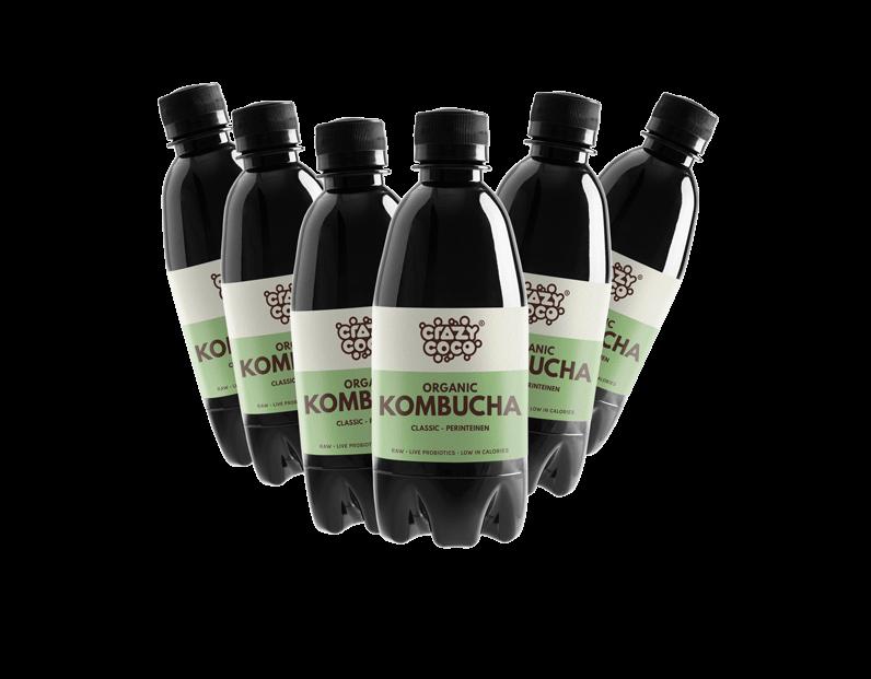 kuusi pulloa classic kombuchaa